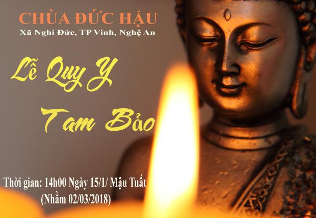 Thông báo: Đăng ký Quy Y Tam Bảo tại chùa Đức Hậu ngày 15/1/Mậu Tuất